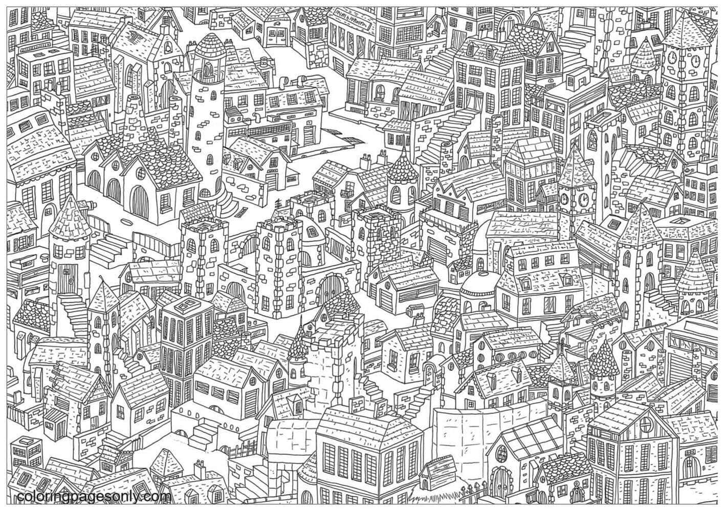 City Doodle Coloring Page