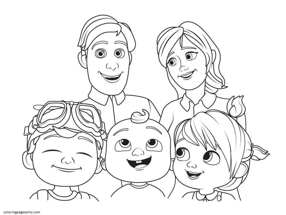Cocomelon Parents Day Coloring Page
