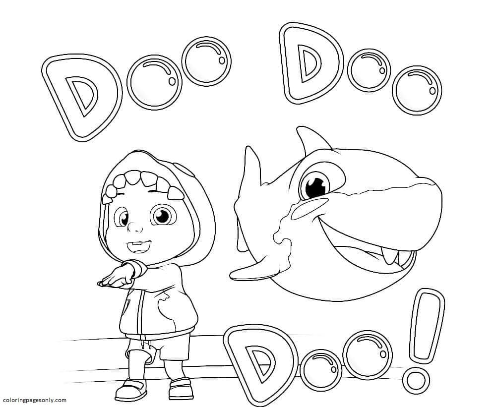 Cocomelon and Baby Shark Coloring Page