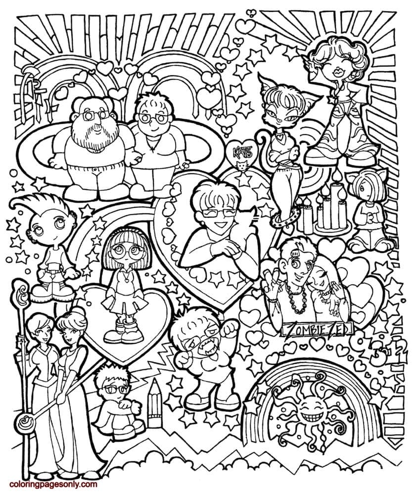 Comic Characters Doodle Coloring Page