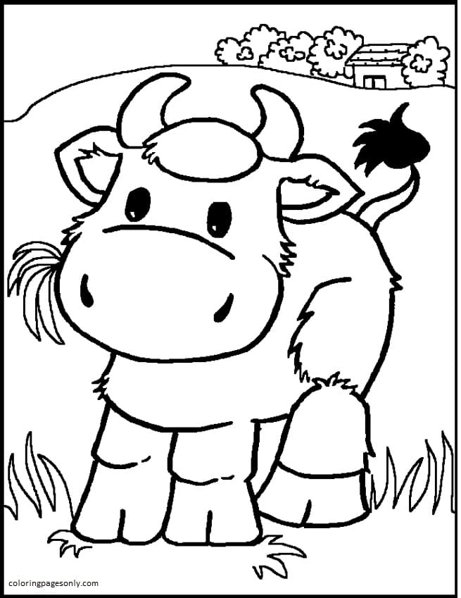 Cow-Farm Animal Coloring Page