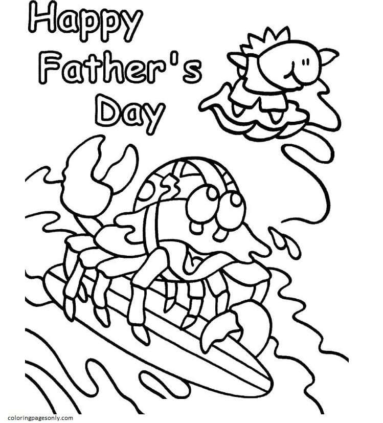 Crab And Fish At The Beach Coloring Page