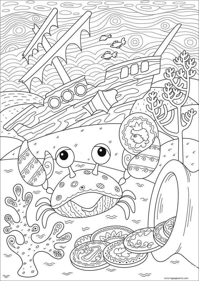 Crab Found Treasure near Sunken Ship Coloring Page
