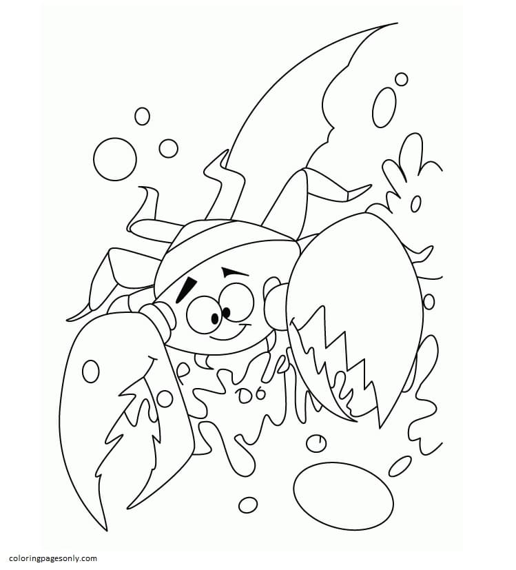 Crab In Grab Coloring Page