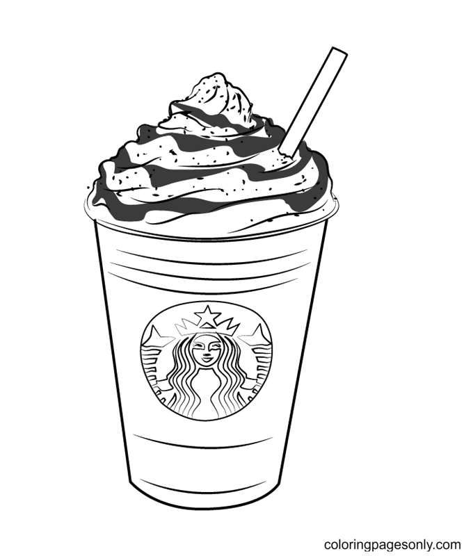 Cup Coffee Starbucks Coloring Page