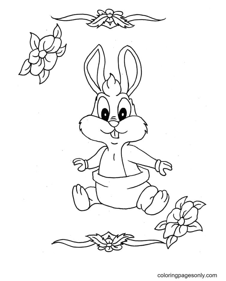 Cute Baby Bugs Bunnies Coloring Page