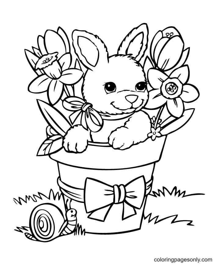 Cute Bunnies Flowers Coloring Page