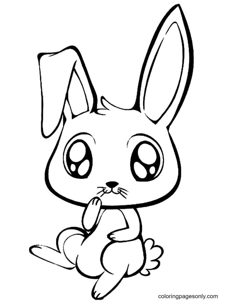 Cute Bunny For Girls Coloring Page