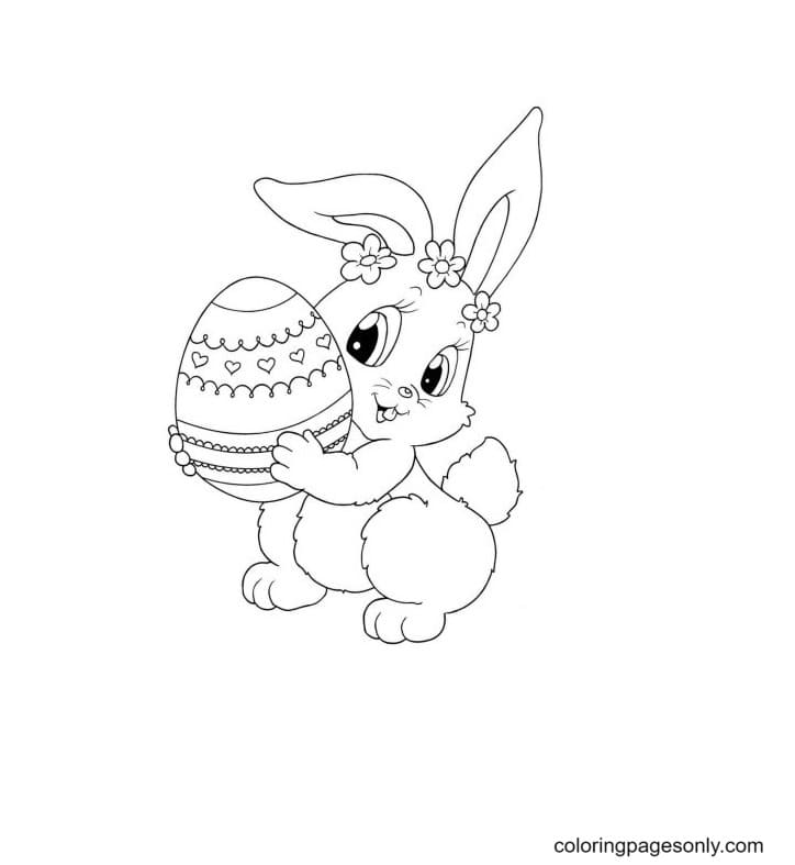 Cute Bunny Holding An Egg Coloring Page