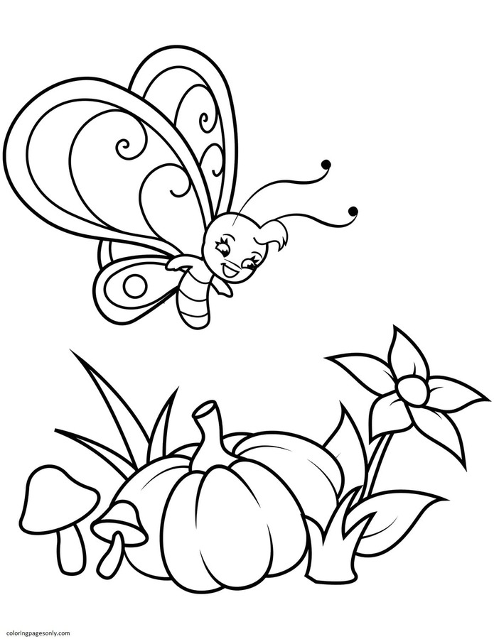 Cute Butterfly Boy Flies over Pumpkin Coloring Page