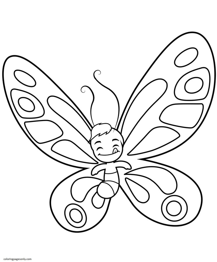 Cute Butterfly Boy Sticks out the Tongue Coloring Page