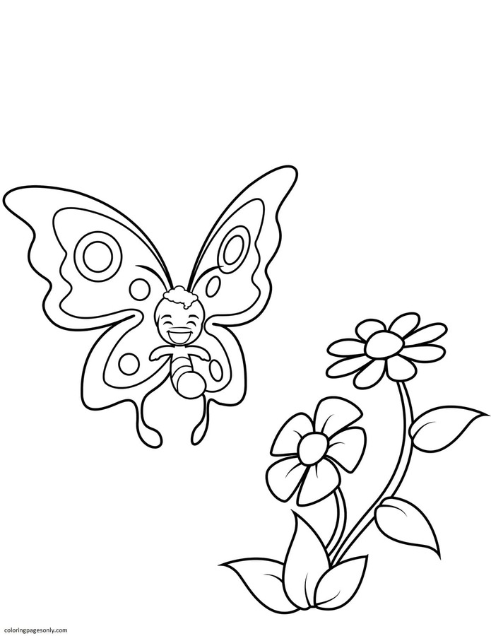 Cute Butterfly Boy and Two Big Flowers Coloring Page