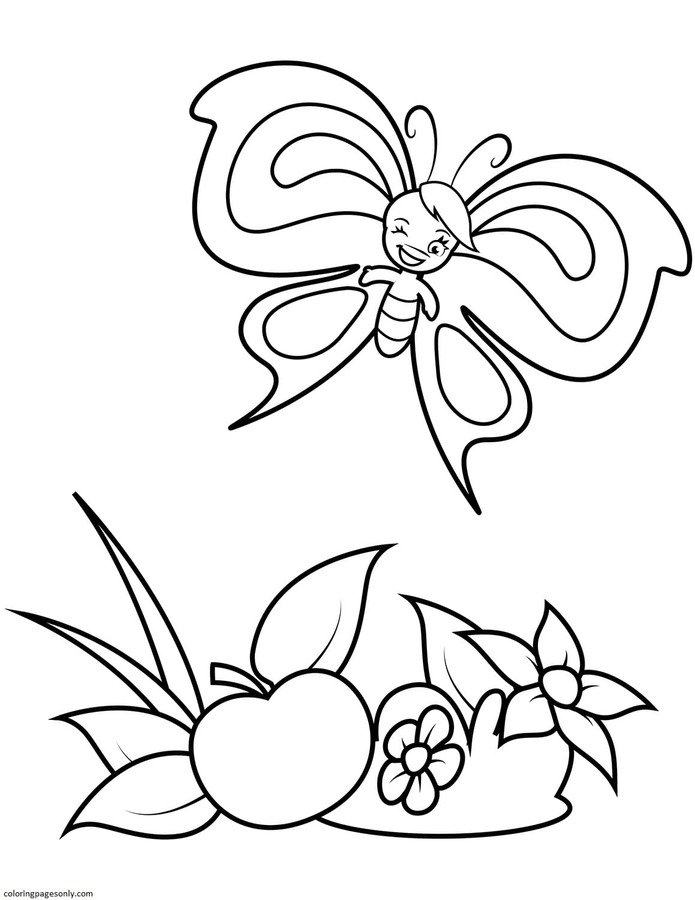Cute Butterfly Boy and a Big Apple Coloring Page