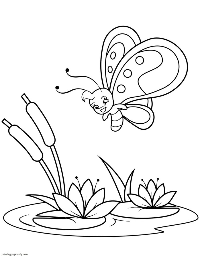 Cute Butterfly Flies over Reeds and Water Lilies Coloring Page