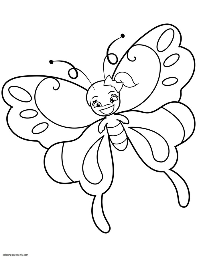 Cute Butterfly Girl with Ponytail Coloring Page