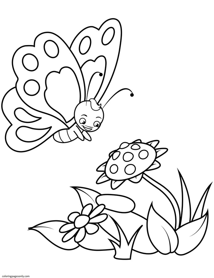 Cute Butterfly and a Sunflower Coloring Page