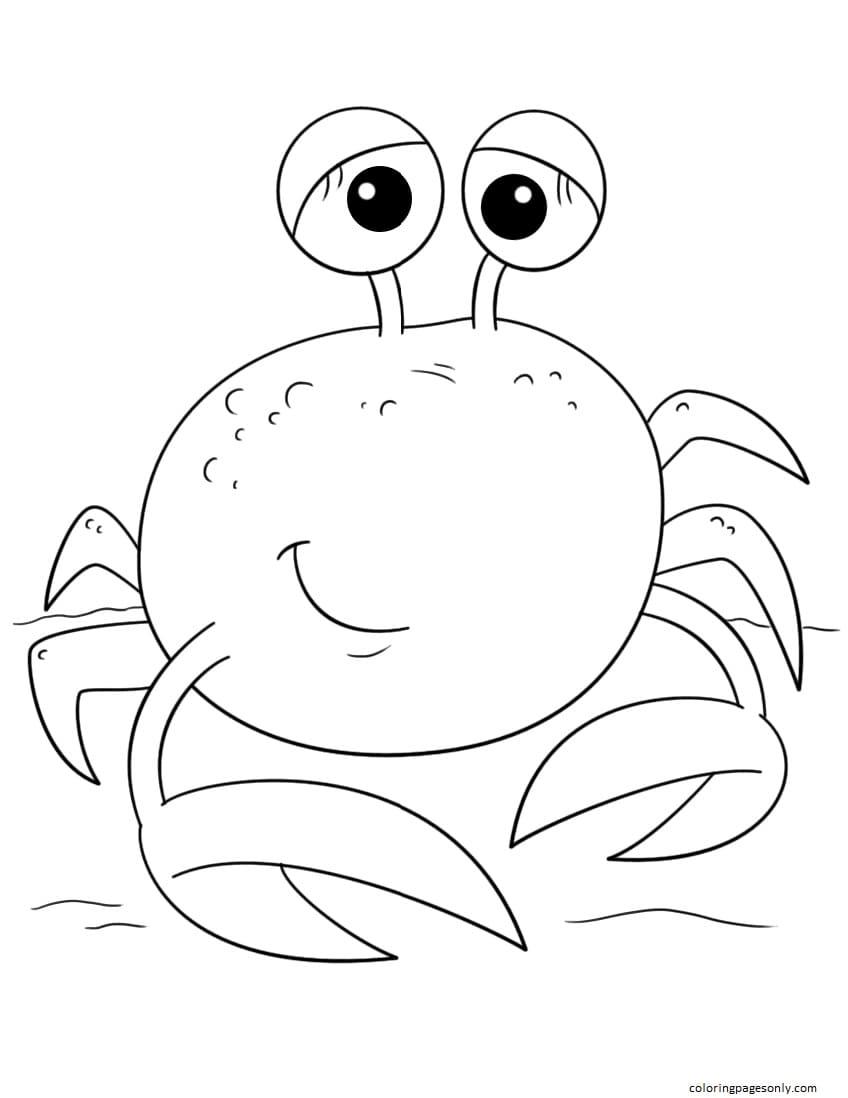 Cute Cartoon Crab Coloring Page