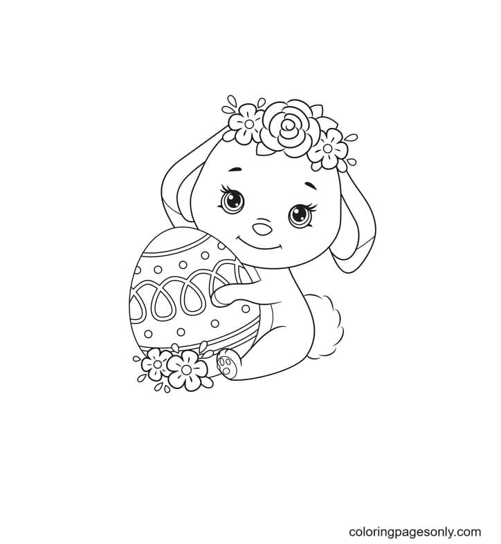 Cute Easter Bunnies Girl Coloring Page