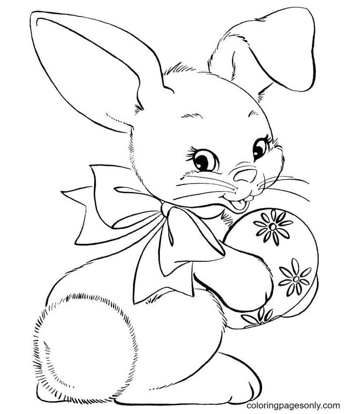 Cute Easter Bunnies Simple Coloring Page
