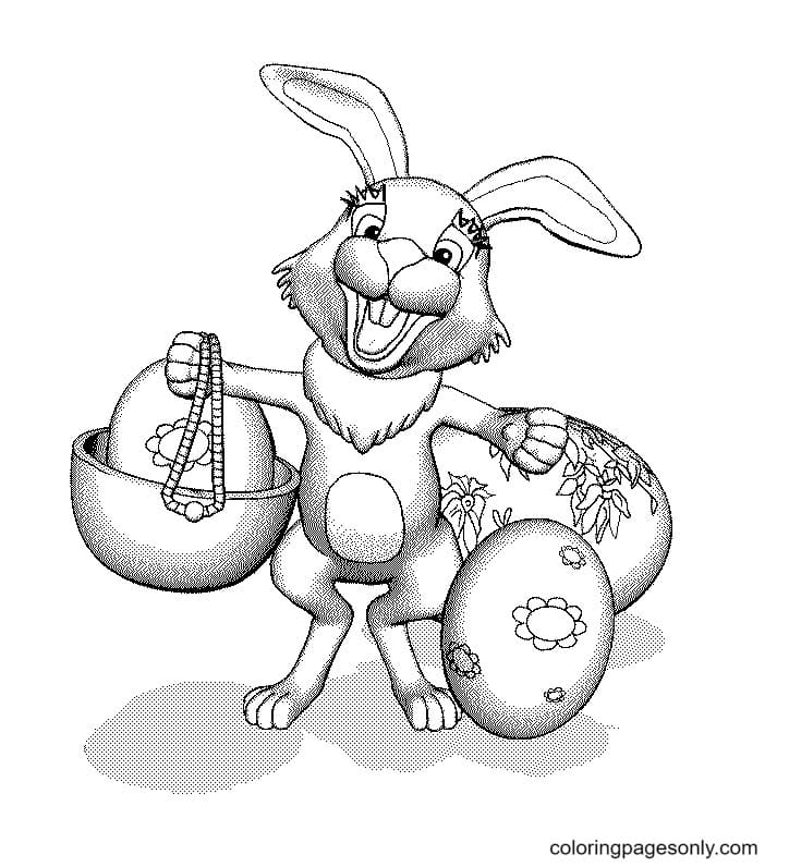 Cute Easter Bunnies Coloring Page