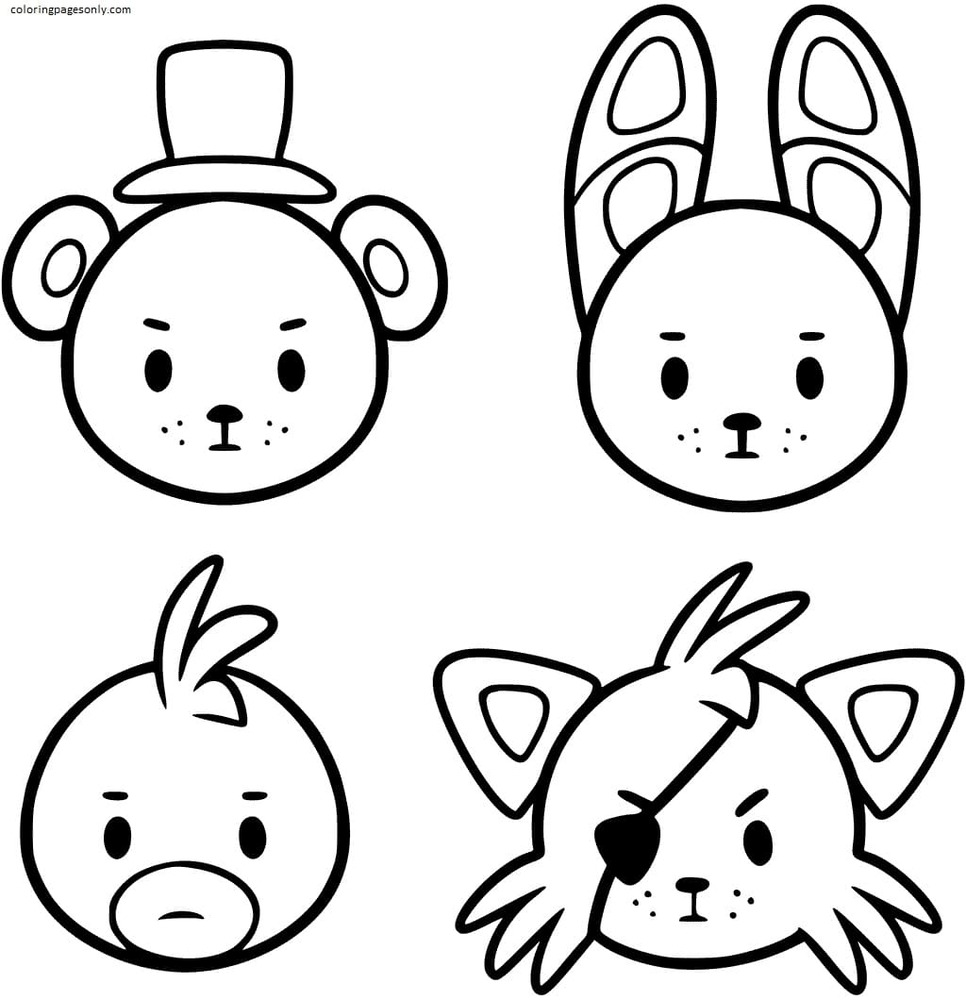 Cute FNAF Characters Coloring Page