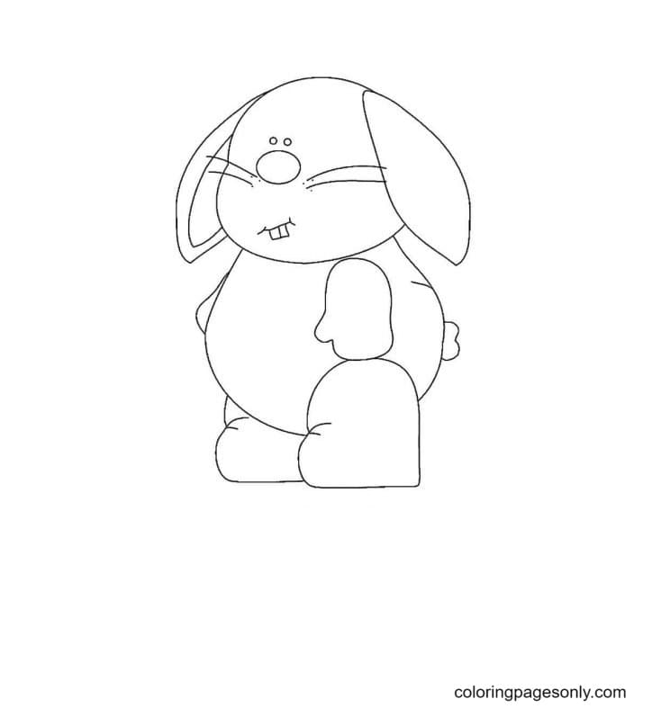 Cute Fat Rabbit Coloring Page