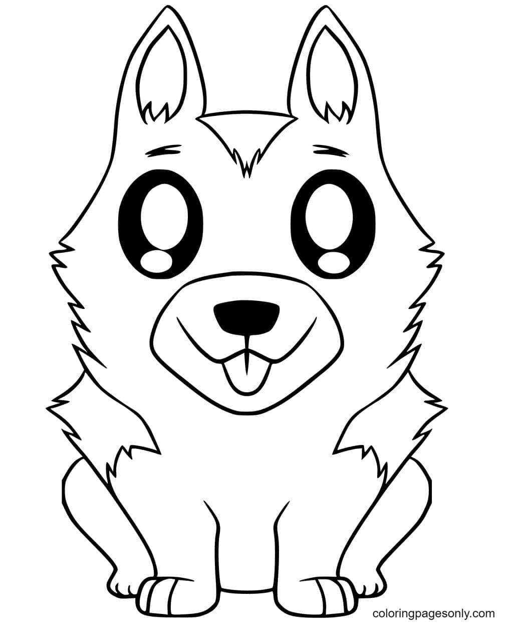 Cute German Shepherd Puppy Coloring Page
