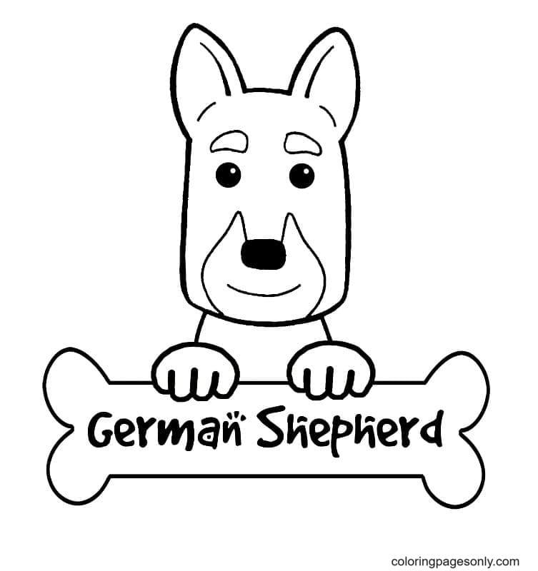 Cute German Shepherd Coloring Page