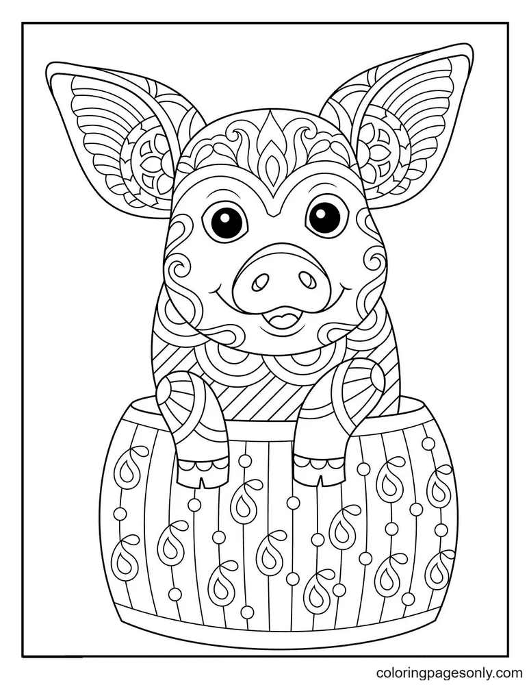 Cute Pigs Hard Coloring Page