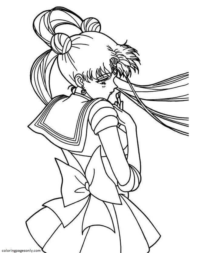 Cute Tsukino Usagi Sailor Moon Coloring Page