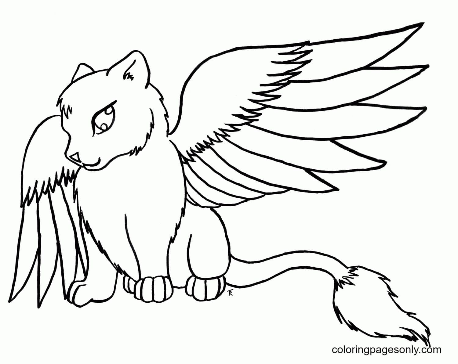 Cute Winged Wolf Coloring Page