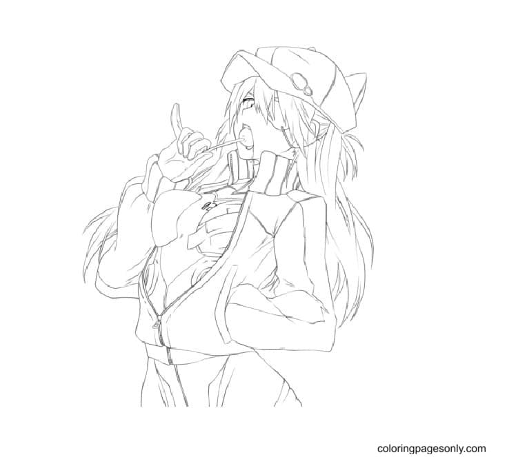 Cute anime Zero Two Coloring Page