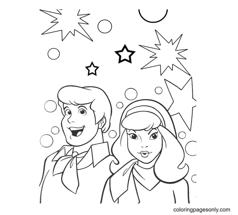 Daphne and Fred Coloring Page