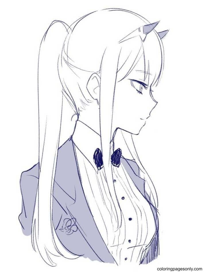 Darling In The Franxx Fanart Zero Two Coloring Page