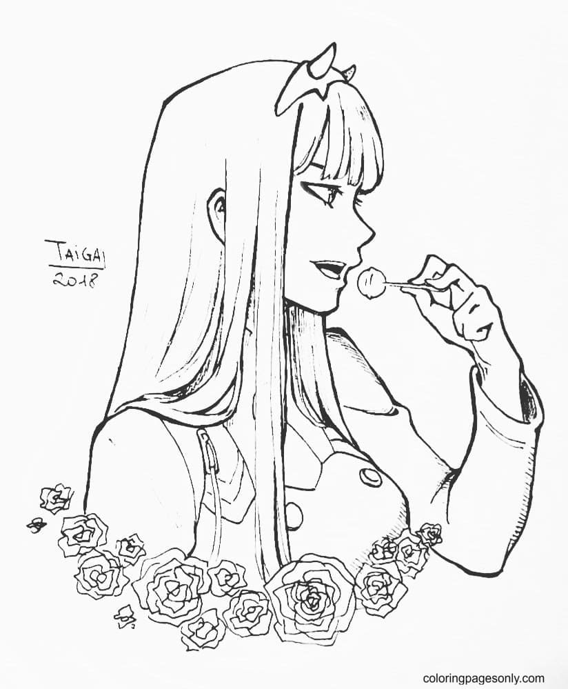 Darling In The Franxx – Zero Two Coloring Page