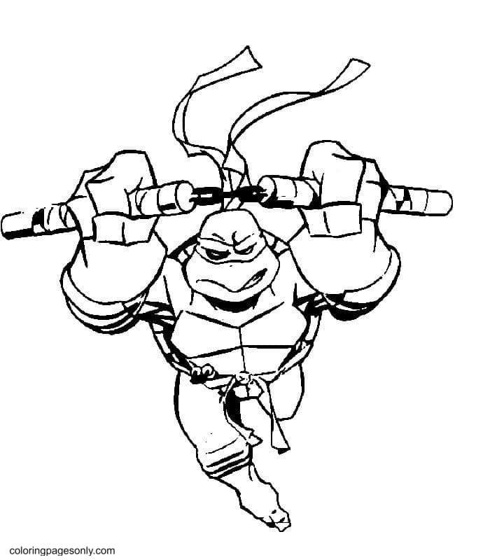 Defense Ninja Turtle Coloring Page