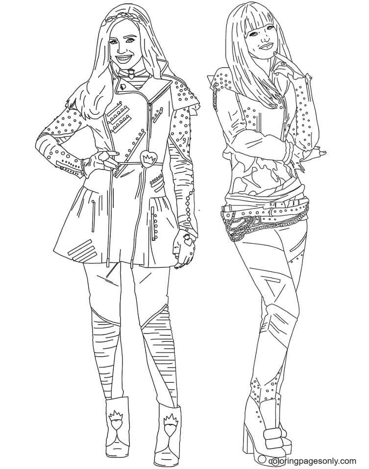 Descendents Mal and Evie Coloring Page