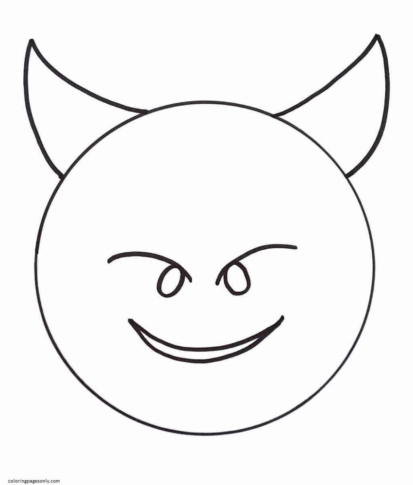 Devil Emoji Coloring Page