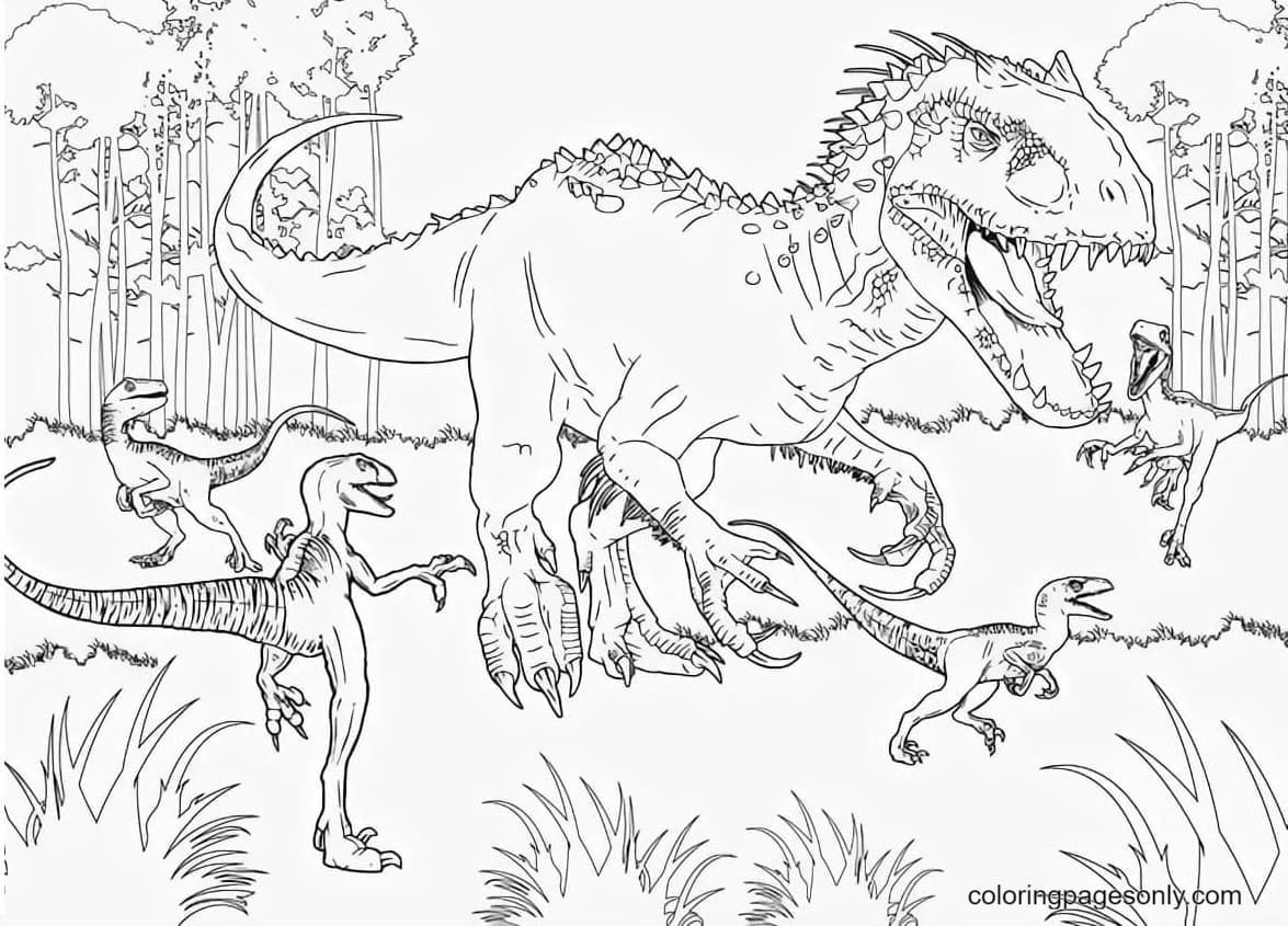 Dinosaur in the Forest Coloring Page