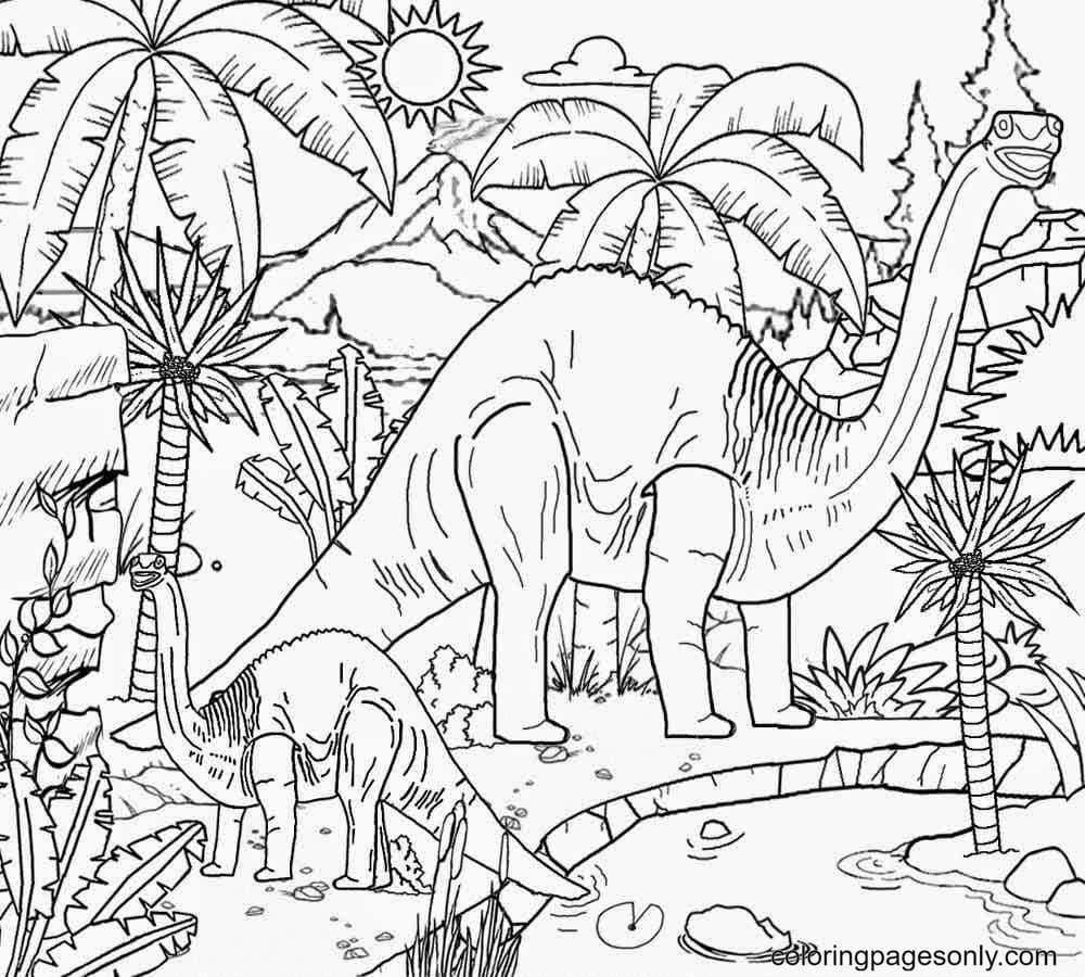 Dinosaur island Coloring Page