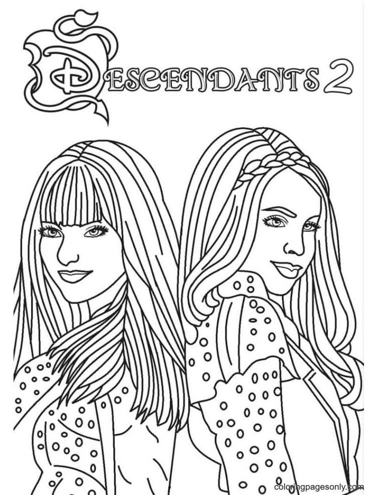 Disney Descendants Mal and Evie Coloring Page