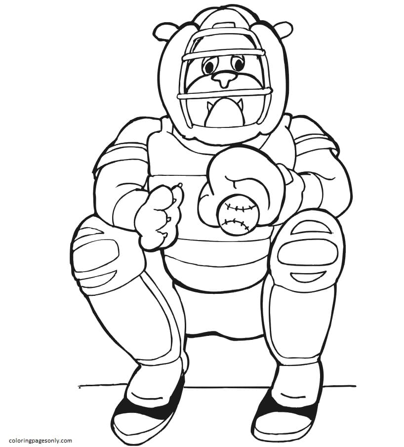Dog Baseball Catcher Coloring Page