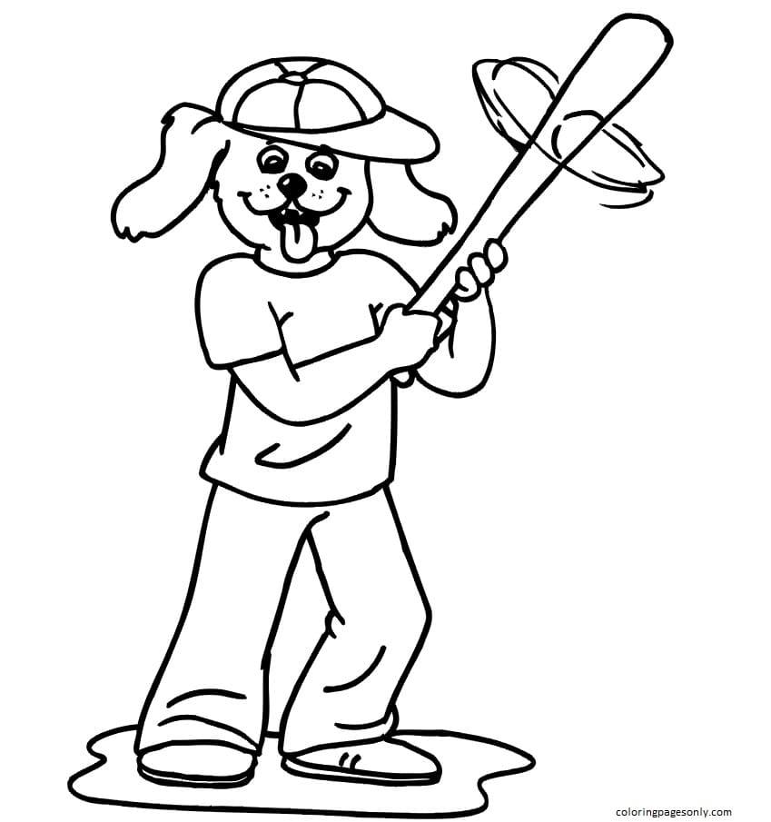 Dog Baseball Player Coloring Page