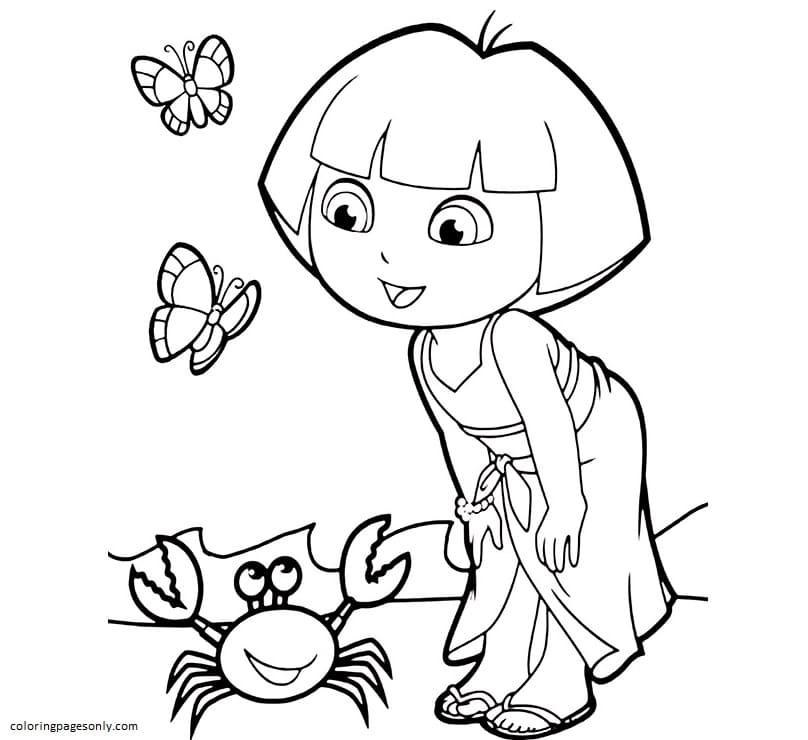Dora And Crab Coloring Page