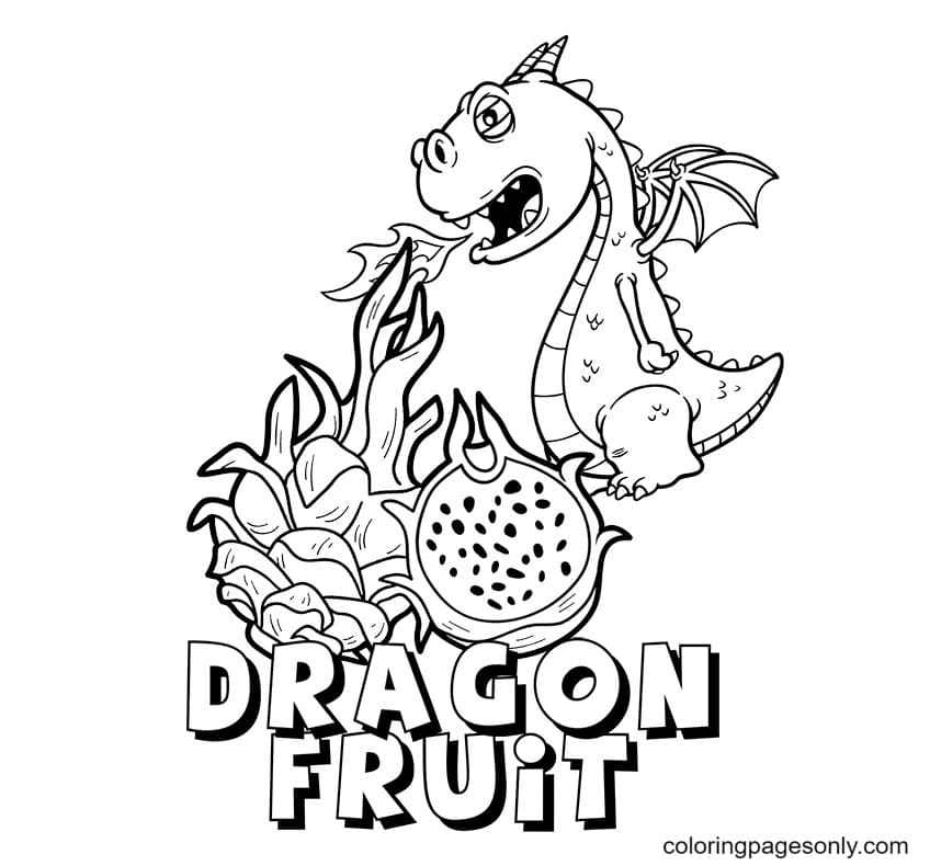 Dragon And Dragon Fruit Coloring Page