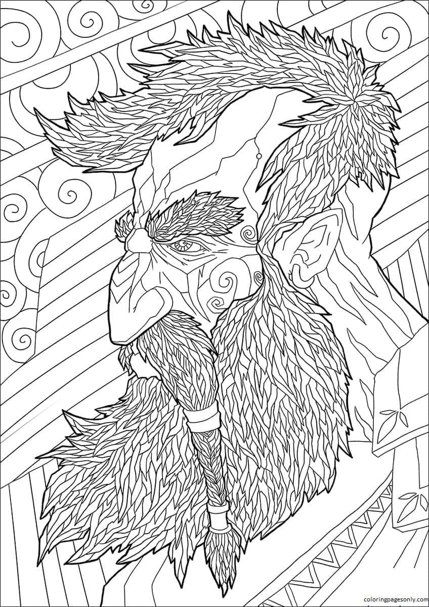 Dwarf Profile Portrait Coloring Page