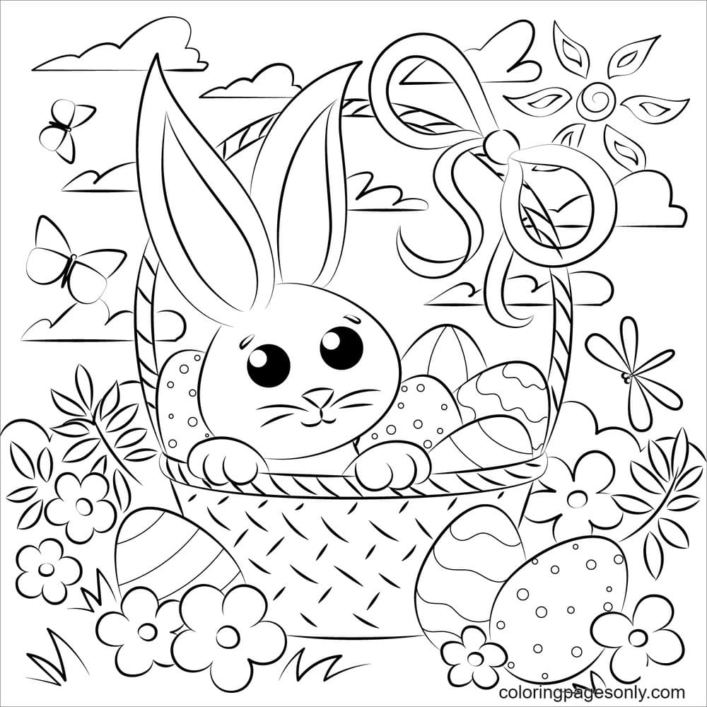 Easter Basket and Bunnies Coloring Page