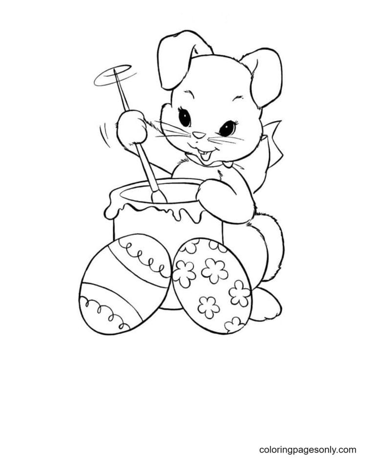 Easter Bunnies Cute Coloring Page