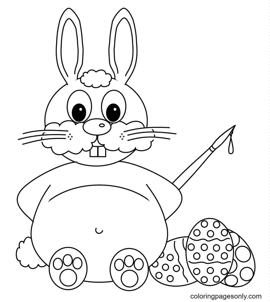 Easter Bunnies go to paint eggs Coloring Page