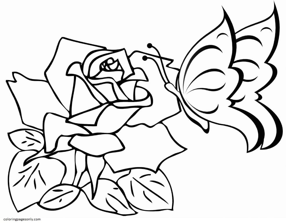 Easy Butterfly and Rose Coloring Page
